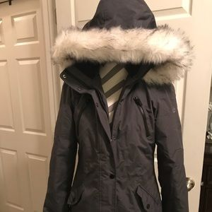 Jackets & Blazers - HFX jacket w removable white faux fur trimmed hood